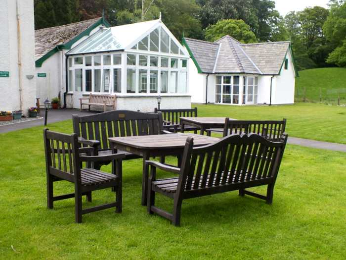 Glenthorne gardens, seating area with Garden Room and Meeting Room in the background