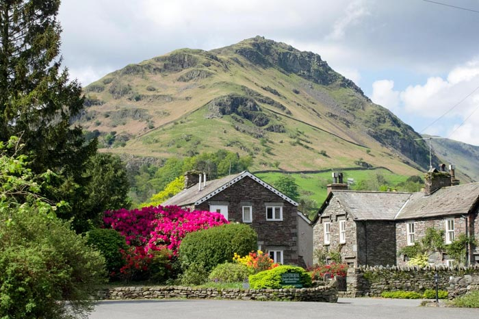 Glenthorne entrance and car parking area with Helm Crag beyond