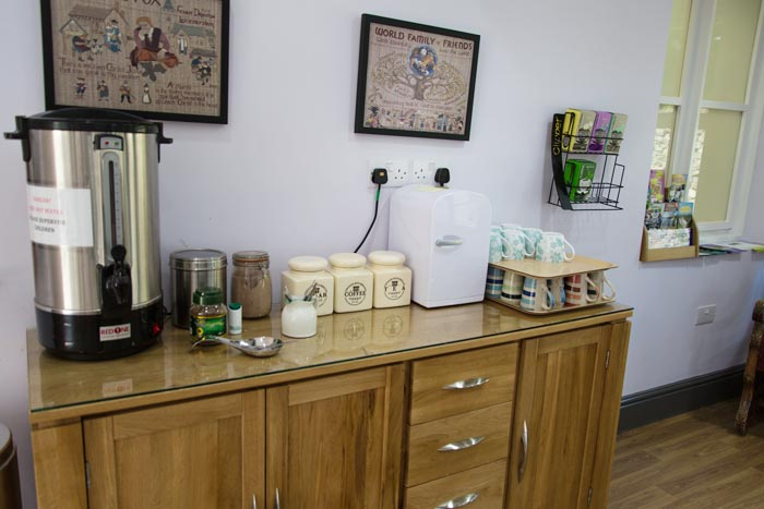 Coffee and Tea-making facilities in the reception area